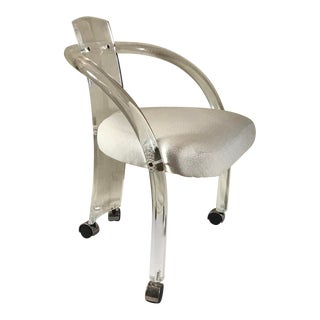 Mid Century Modern Charles Hollis Jones Style Lucite Armchair on Casters For Sale