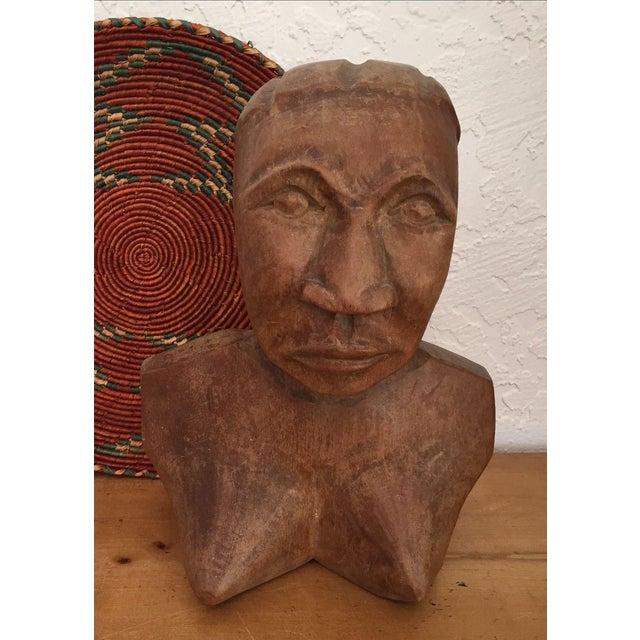 Vintage Hand Carved Female Bust Wood Sculpture - Image 2 of 9