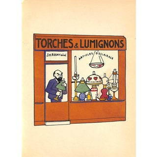 Paris Storefronts, French Lithograph, Torches & Lumignons, 1925, Matted For Sale
