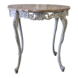 Vintage Louis XV Style Carved & Painted Side Table With Marble Top