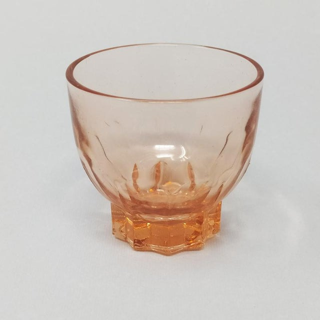 Art Deco 1930s Art Deco French Peach Pink Brandy/Whiskey Set - 7 Piece Set For Sale - Image 3 of 9