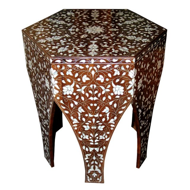 Metal Contemporary Syrian Mother of Pearl Inlaid Side Table For Sale - Image 7 of 8