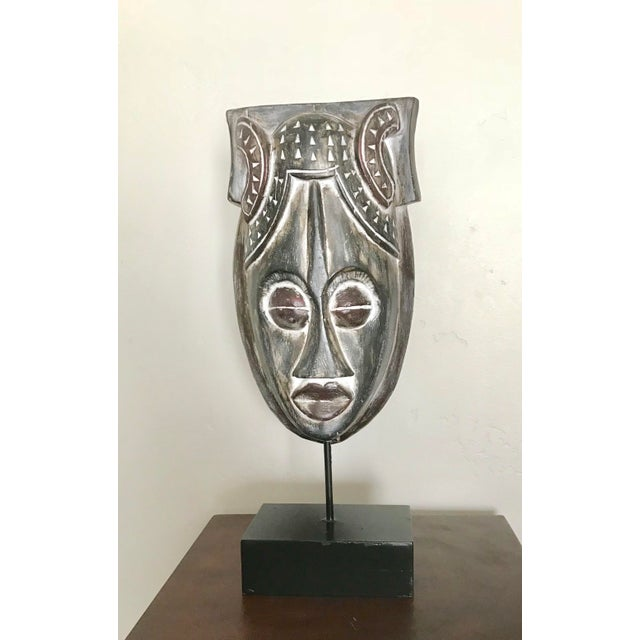 Wood African Mask on a Wood Stand For Sale - Image 7 of 7