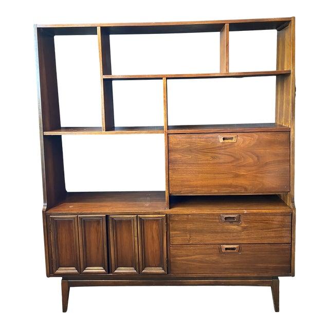 Mid-Century Modern Danish Bookcase With Secretary Desk For Sale