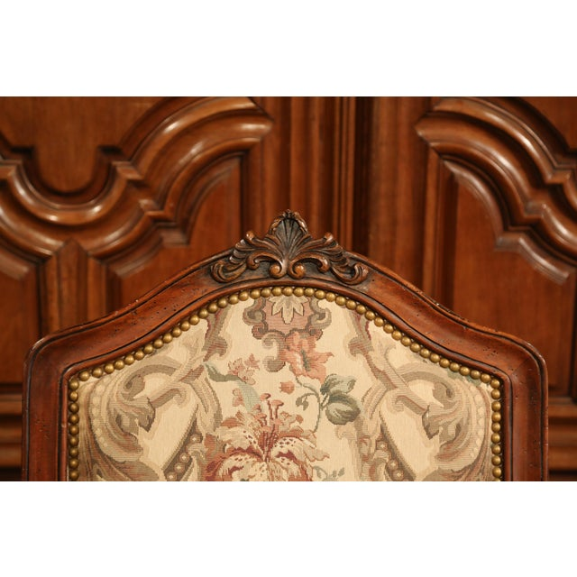 French Carved Walnut and Fruitwood Dining Chairs and Armchairs - Set of 8 For Sale - Image 9 of 13