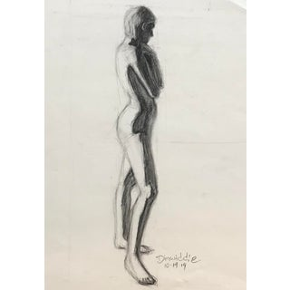 Modern Standing Female Nude Studio Figure Study Drawing For Sale