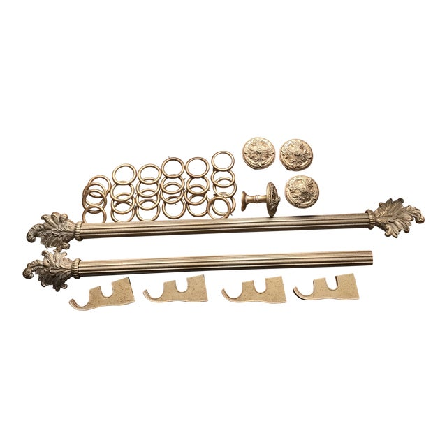 French Gold Designer Curtain Rods, Finials, Brackets, Tiebacks & Rings - 38 Pieces For Sale