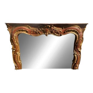 Antique 18th C Venetian Red Gilt-Wood Over Mantel Mirror For Sale