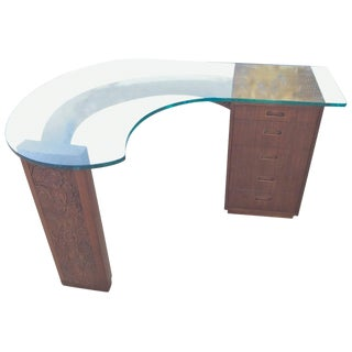 Frank Lloyd Wright for Henredon Walnut Kidney Shaped Desk For Sale