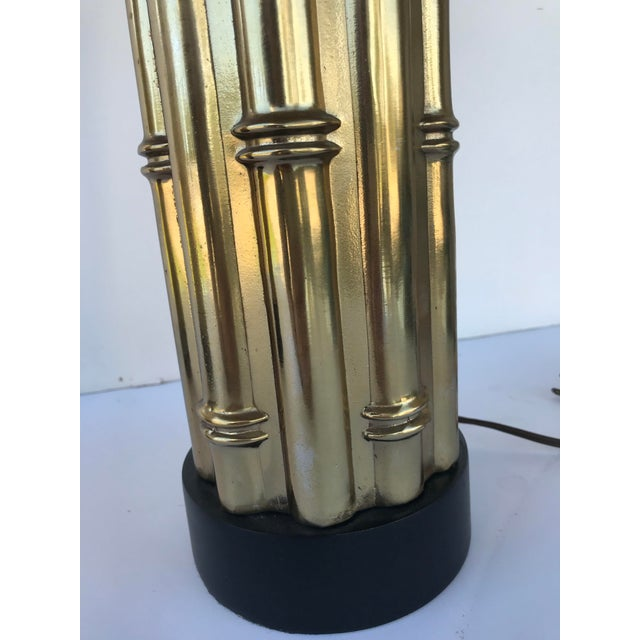 Mid Century Faux Bamboo Metal Lamps - a Pair For Sale In Boston - Image 6 of 8