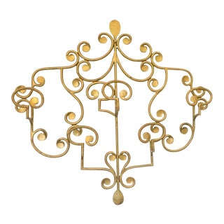 French Wall Mounted Ornament Gilt Metal Coat Rack Hanger For Sale