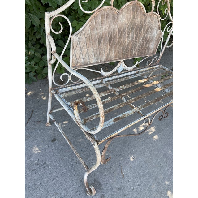 French Antique Wrought Iron Outdoor Folding Bench For Sale - Image 9 of 12