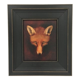 Petite Framed Fox Head Painting For Sale