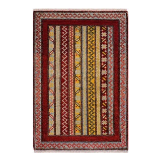 Tribal Khurgeen Steele Red/Gray Wool Rug - 2'0 X 2'1 For Sale