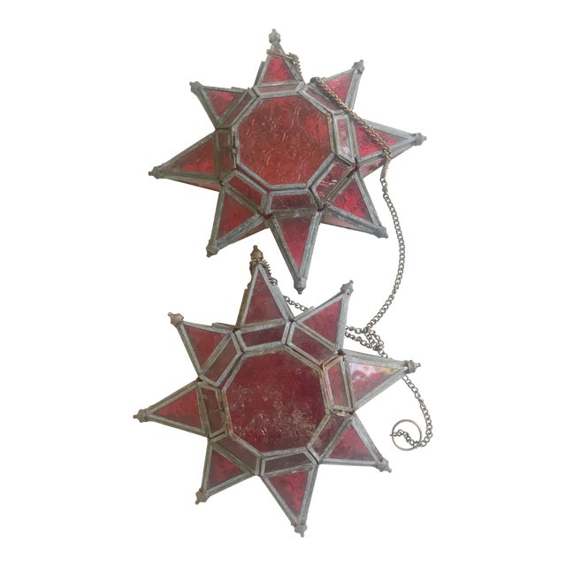 1970s Boho Chic Morovian Red Glass Star Lanterns - a Pair For Sale
