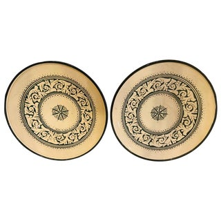Hand-Made Ceramic Green Serving, Decorative or Center Table Plates - a Pair For Sale