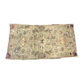 Vintage Floral Turkish Handmade Decorative Sand Rug For Sale