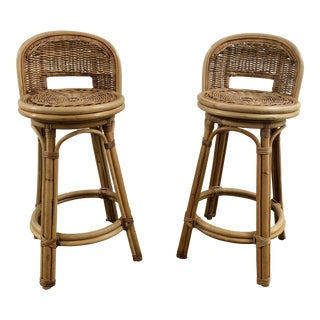 Vintage Hollywood Regency Bamboo Rattan Swivel Bar Stools - a Pair