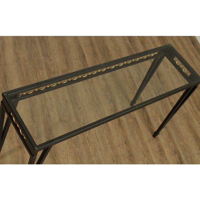 Metal Hollywood Regency Style Black & Gold Glass Top Console Table For Sale - Image 7 of 13