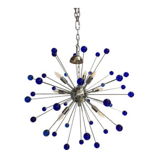 Dark Blue Murano Glass Chandelier in Sputnik Style With a Chrome Frame For Sale