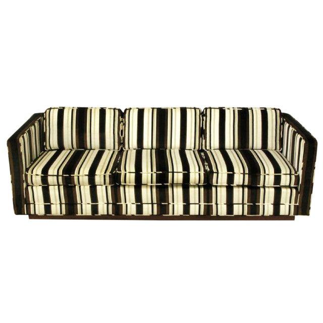 Marden Even-Arm Striped Velvet Tuxedo Sofa For Sale