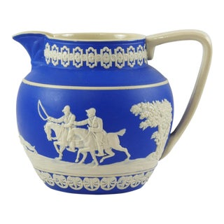 1900s Antique Spode Hunting Scene in Royal Blue Jasperware Pitcher For Sale