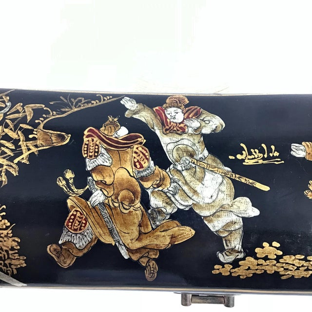1910s Chinese Leather Money Box Pillow For Sale - Image 9 of 13