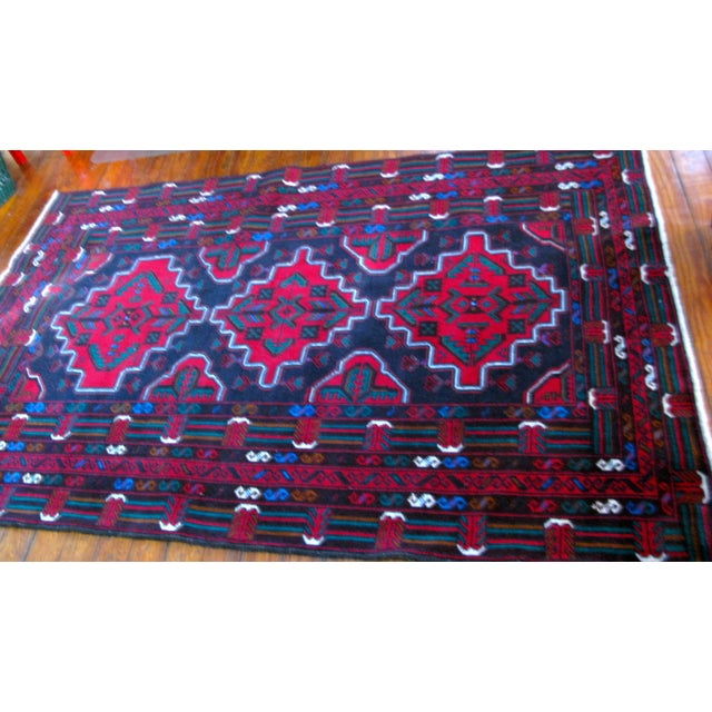 "Hand Made Antique Baluchi Rug - 4' x 6'4"" - Image 7 of 8"