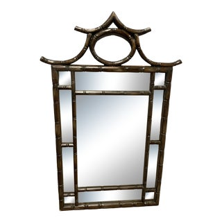 Vintage Chippendale Faux Wood Bamboo Pagoda Mirror From Carolina Mirror Co. For Sale