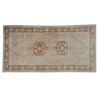 "Vintage Distressed Oushak Carpet - 4'10"" X 9'6"" For Sale"