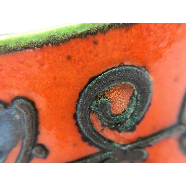 Mid-Century Vulcanic Glaze Red Ceramic Planter For Sale - Image 4 of 9
