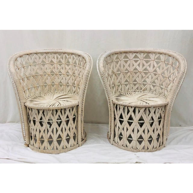 Ficks Reed Pair Boho Chic White Wicker & Rattan Chairs For Sale - Image 4 of 13