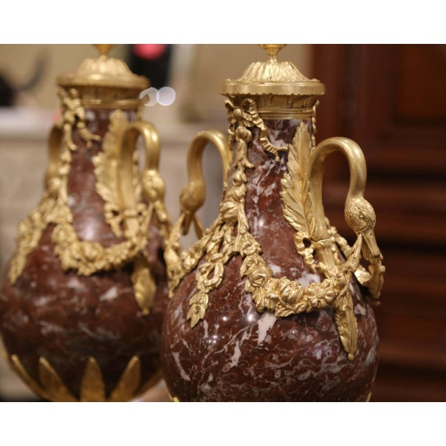 19th Century French Carved Variegated Marble and Gilt Bronze Cassolettes-a Pair For Sale - Image 4 of 9