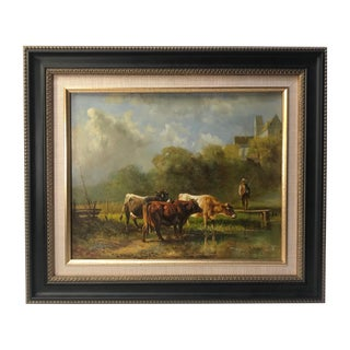 Early 20th Century Antique Thomas Noyes-Lewis English Oil Pastoral Painting For Sale