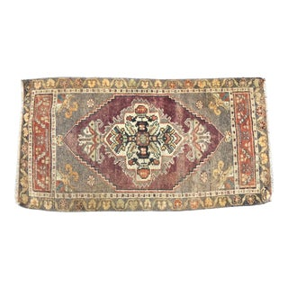 Vintage Faded Turkish Oushak Red and Gray Rug For Sale