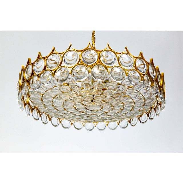 Contemporary Large Circular Palwa Gilt Brass and Optical Lens Crystal Chandelier (2 Available) For Sale - Image 3 of 12