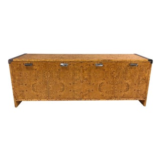 1980s Burl Wood Credenza by Leon Rosen for Pace For Sale