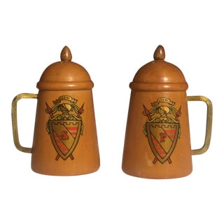 Vintage Medieval Wooden Salt and Pepper Shaker With Crest - a Pair For Sale