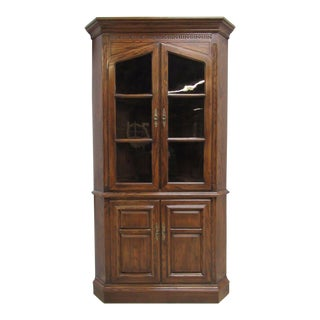 Ethan Allen Charter Oak Jacobean Corner Curio For Sale