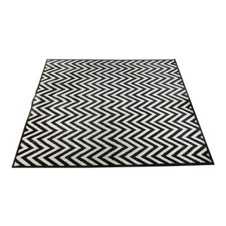Pottery Barn Black and Ivory Hayden Chevron Pattern Rug - 8′2″ × 10′2″