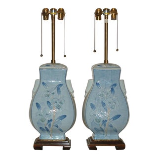 Marbro Ceramic Table Lamps Blue & White For Sale