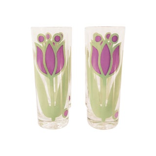 1950s Colony Purple Tulip Glasses - Set of 4 For Sale