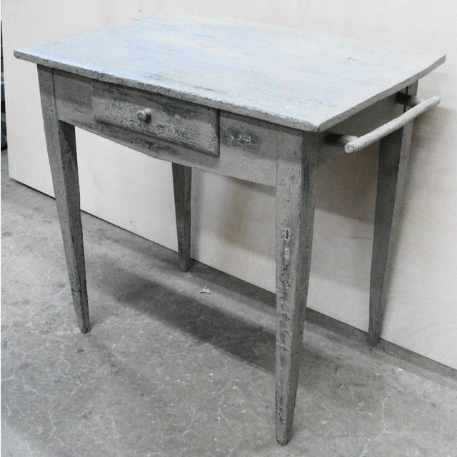 French Country 19th Century French Country Work Table in Old Paint For Sale - Image 3 of 10