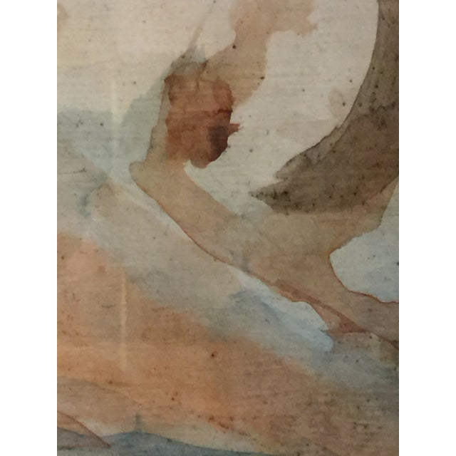 1970s Intake Watercolor Nude Painting on Board Signed by Artist For Sale -  Image 5 of