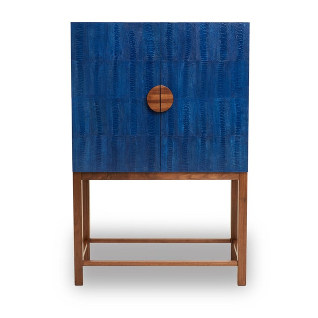 Ostrich Skin Ripple Blue Walnut Bar Cabinet For Sale - Image 4 of 4
