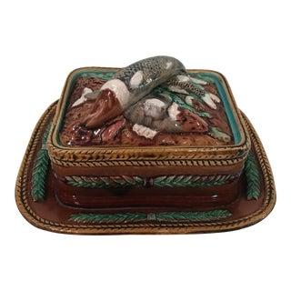 Antique Majolica Sardine Box