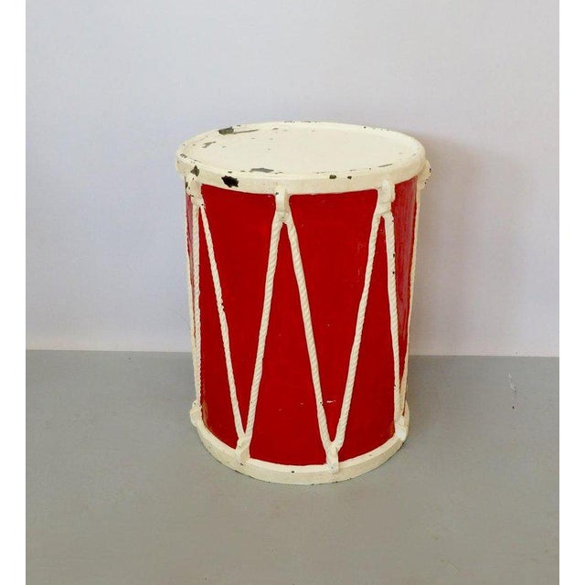 1960s Circus Fiberglass Drum Pedestal Plant Stand For Sale - Image 5 of 6