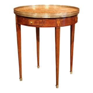 19th Century French Walnut Louis XVI Round Bouillotte Table with Marble Top For Sale