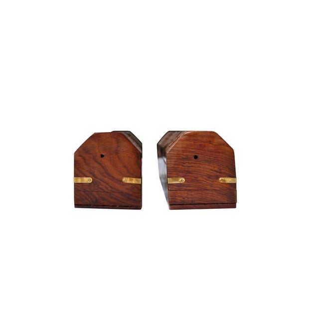 Brown Wooden Coffin Shaped Incense Burners With Brass Inlay, a Pair For Sale - Image 8 of 9