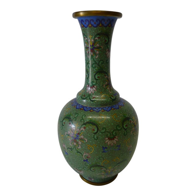 20th Century Chinese Green Cloisonné Vase For Sale